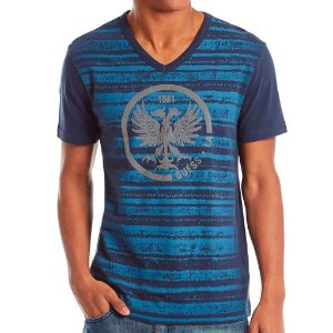 Camiseta Guess Masculina Troy Striped V Tee - Office Blue