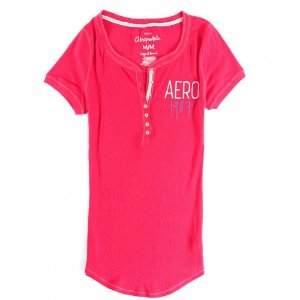 Camiseta Aéropostale Feminina 1987 Crest Henley - Light Red