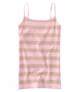 Blusinha Aéropostale Feminina Metallic Striped Basic Cami - Sugar