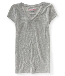 Camiseta Aéropostale Feminina Solid V-Neck - Heather Grey