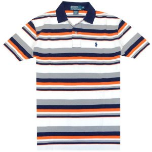 Polo Ralph Lauren Masculina Striped Classic Mesh Piquet Polo  - White and Navy
