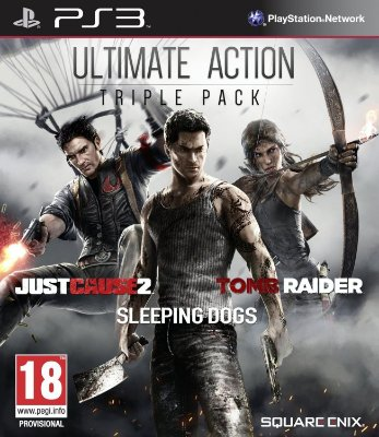 Ultimate Action Triple Pack Just Cause 2 + Sleeping Dogs + Tomb Raider - PS3 Mídia Física Novo Lacrado