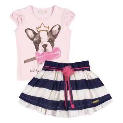 Conjuntinho Camisetinha + Saia | Up Baby - Bulldog Icecream Blue