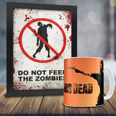 Caneca Personalizada The Walking Dead (Mod.1) + Quadro Do Not Feed The Zombies