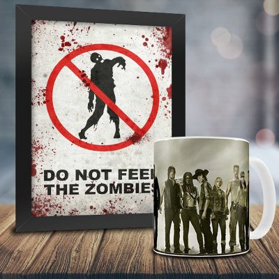 Caneca Personalizada The Walking Dead (Mod.2) + Quadro Do Not Feed The Zombies