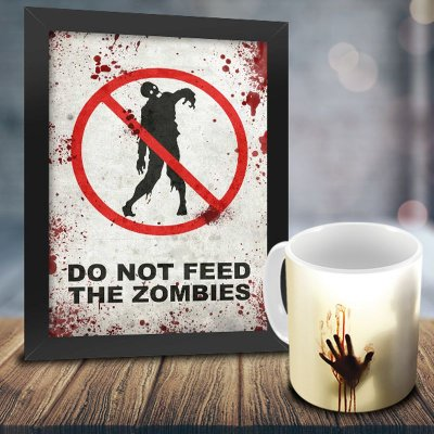 Caneca Personalizada The Walking Dead (Mod.3) + Quadro Do Not Feed The Zombies