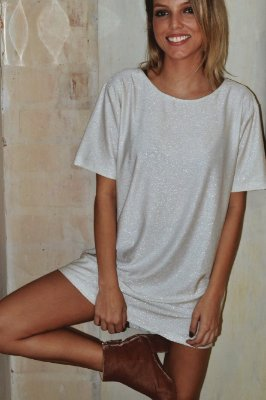 OVERSIZED T-SHIRT LUREX WHITE SILVER