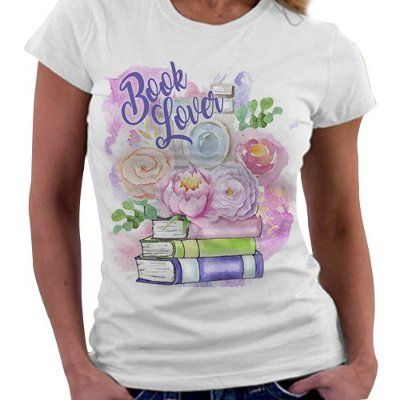Camiseta Feminina - Book Lover - Flowers