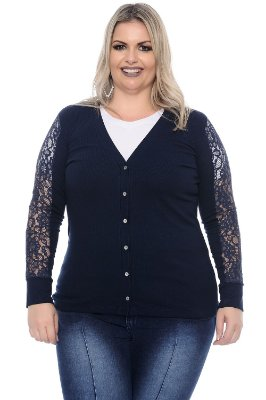 Cardigan Plus Size Renda Blue