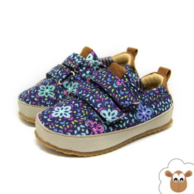 Tênis Infantil Sheep Shoes Floral Azul e Verde Velcro