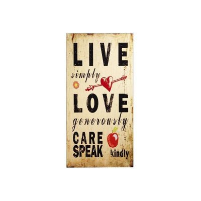 Placa decorativa - Live simply love
