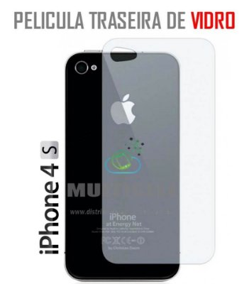PELICULA TRASEIRA  DE VIDRO APPLE IPHONE 4/4S