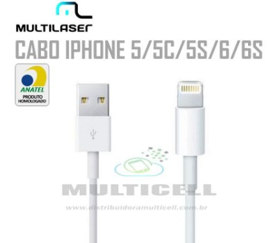 CABO USB MULTILASER IPHONE 5/5C/5S/6/6S BRANCO C/ BLISTER