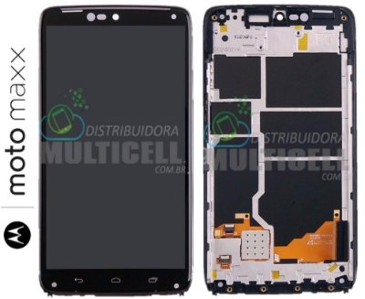 GABINETE FRONTAL TOUCH SCREEN MOTOROLA XT1225 MOTO MAXX PRETO ORIGINAL