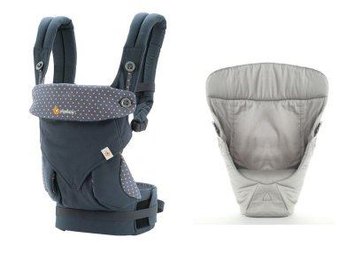Canguru - BabyCarrier Ergobaby - Coleção 360 - Dusty Blue + Infant Insert Snug Grey