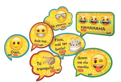 Kit Plaquinhas Decorativas Emojis - 09 unidades