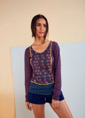 T-SHIRT SILK INDIANO ML 517601 - AZUL