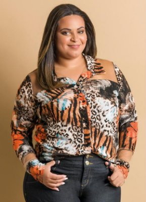 Camisa Manga Longa Animal Print Plus Size