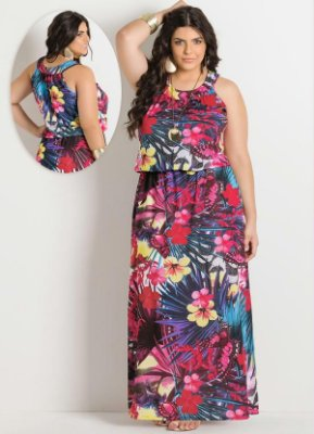 Vestido Longo Tropical Plus Size