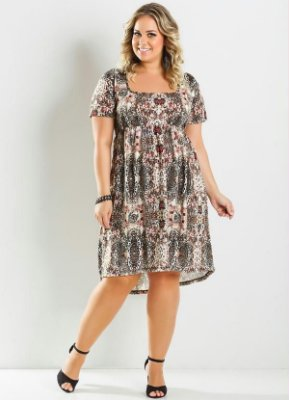 Vestido Mullet Estampa Animal Print Plus Size