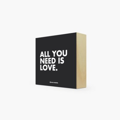 "Quadro Bloco "" All you need is love."" 12 x 12 x 4cm"