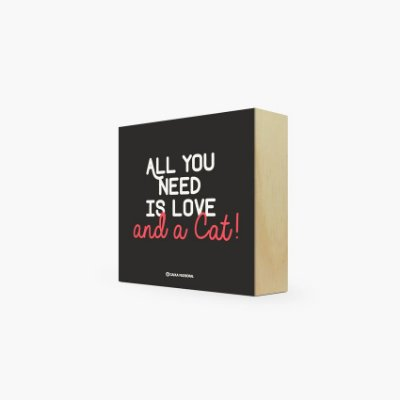 "Quadro Bloco "" All you need is love and a Cat!"" 12 x 12 x 4cm"