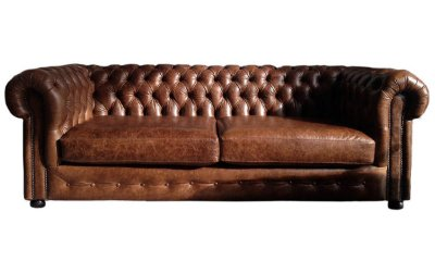 Sofá Chesterfield Couro Marrom Especial