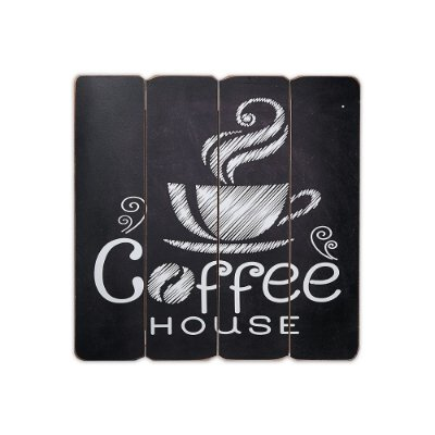 Placa Decorativa de Madeira Coffee House 40x40