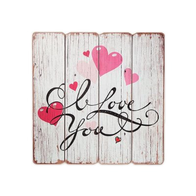 Placa Decorativa de Madeira I Love You 40x40