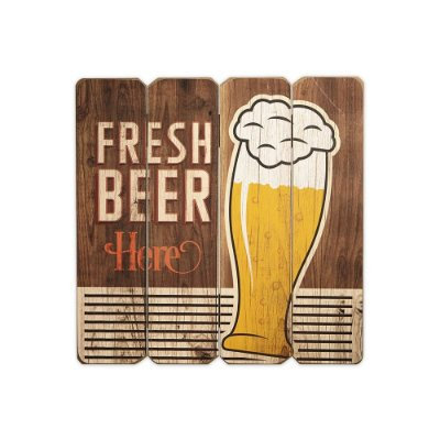 Placa Decorativa de Madeira Fresh Beer 40x40