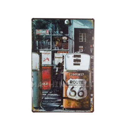 Placa Decorativa Route 66 - Gas Station
