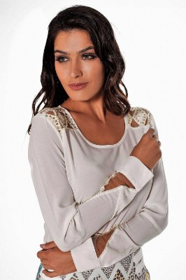 VT80996 - Blusa Geometric Off White - Via Tolentino
