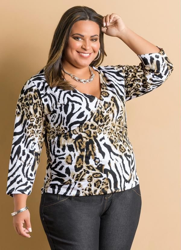 Blusa Manga 7/8 Estampa Animal Print Plus Size