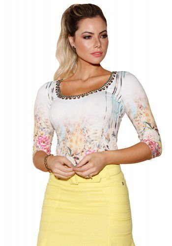 VT81181-Blusa Via Tolentino Mix Estampa