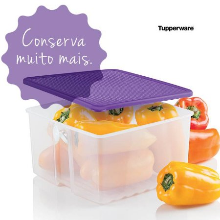 Tupperware Fresh Smart Quadrado 1 litro Transparente tampa Roxa