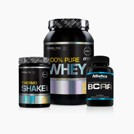 100% Pure Whey (900g) + Thermo Shake(400g)+ BCAA Pro Series(120Caps) - Probiótica