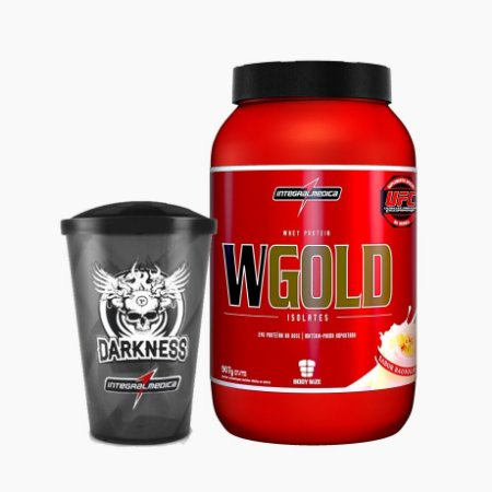 WGold - Whey Gold Isolate (907g) + Grátis Copo Darkness - Integral Médica