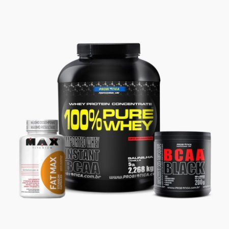 100% Pure Whey (2268g) + Fat Max (120caps) + Bcaa Black (200g) - Probiótica