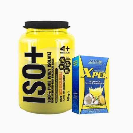 Iso+ (900g) + Xpel (20 sachês) - 4 Plus Nutrition