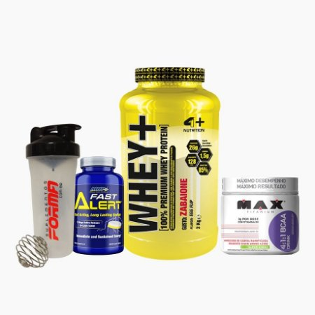 Whey+ (2000g) + BCAA Drink (280g) + Fast Alert (100tabs) + Shaker Forma - 4 Plus Nutrition
