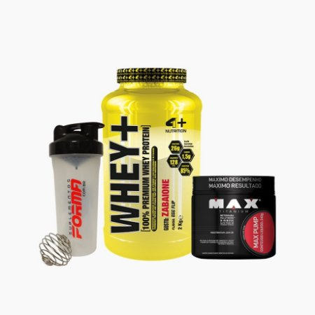 Whey+ (2000g) + Max Pump (240g) + Shaker Forma - 4 Plus nutrition