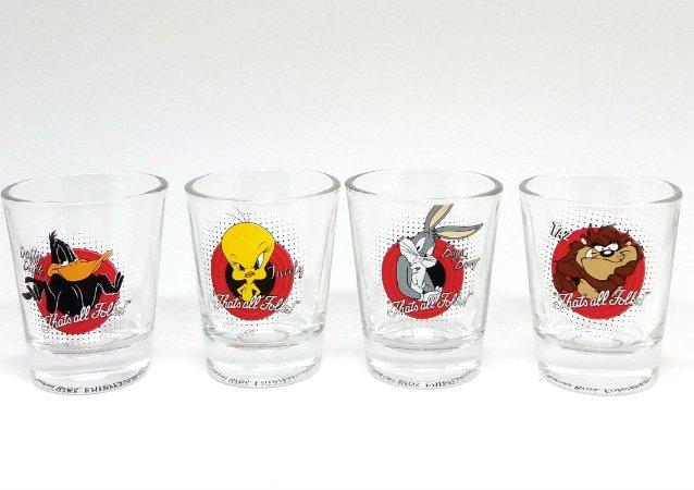 Conjunto com 4 Copos Shot Personagens Looney Tunes