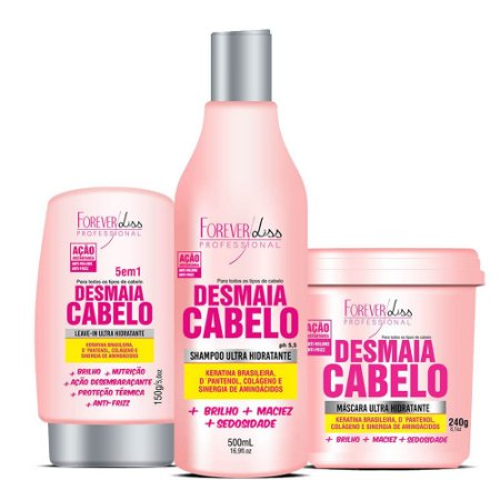 Kit Forever Liss Desmaia Cabelo Shampoo, Leave in e Máscara