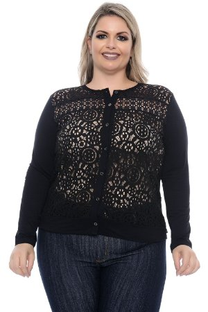Cardigan Plus Size Renda