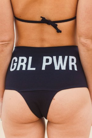 Calcinha Biquíni Hot Pants Girl Power Preto