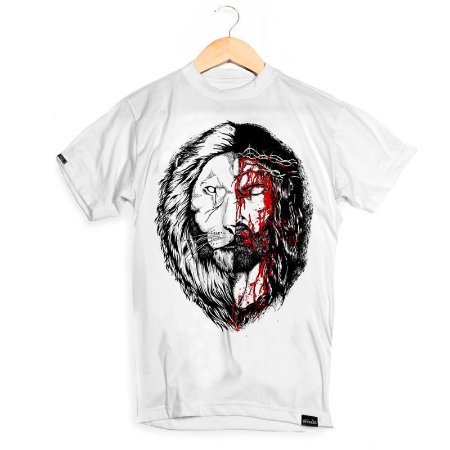 CAMISETA MASCULINA JESUS&LION WHITE