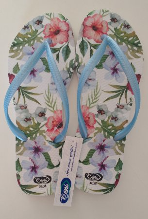Chinelo Floral Azul