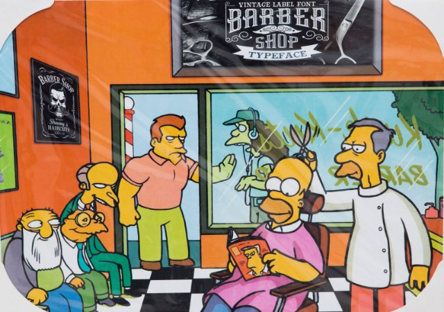 Placa Decorativa Retrô - Os Simpsons Barber Shop
