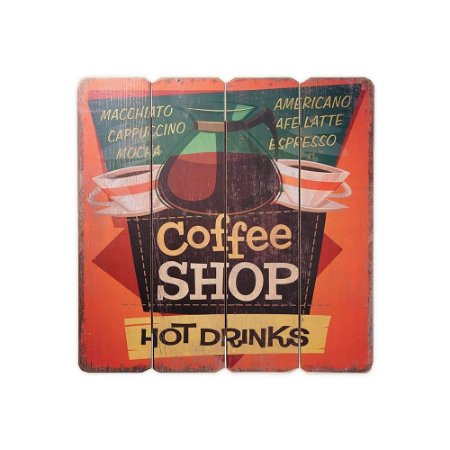 Placa Decorativa de Madeira Coffee Shop Hot Drinks 40x40