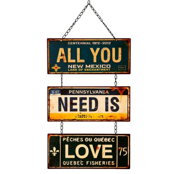 """Placa Decorativa """"All You Need Is Love"""""""